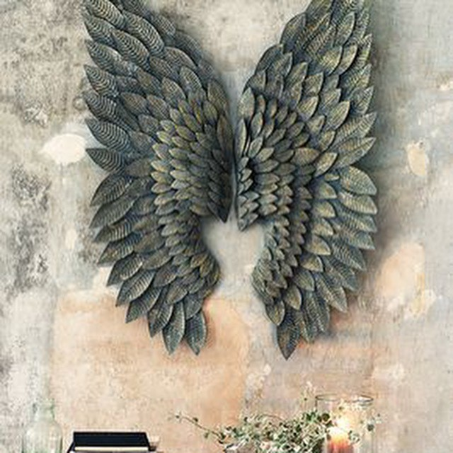 Feather Angel Wings Wall Decor : Gilt metal angel wings wall art feather effect ?