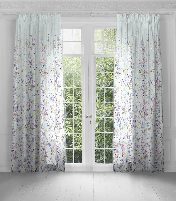 Voyage Maison Artscene Pencil Pleat Curtains Armathwaite Violet