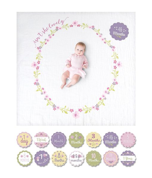 Lulujo Milestones Isn't She Lovely Blanket & Cards Set
