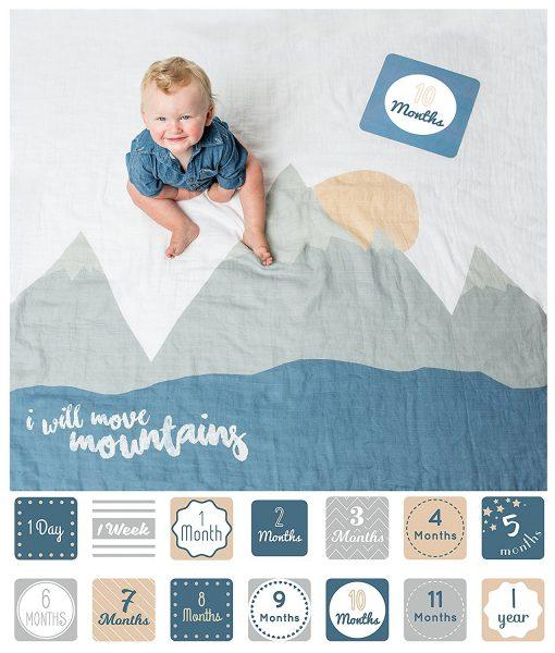 Lulujo Milestones I Will Move Mountains Blanket & Card Set 3