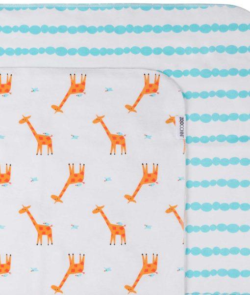 Zoocchini Baby Flannel Receiving Blankets Giraffe/Aqua 5