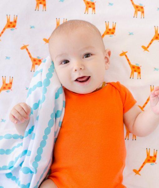 Zoocchini Baby Flannel Receiving Blankets Giraffe/Aqua 1