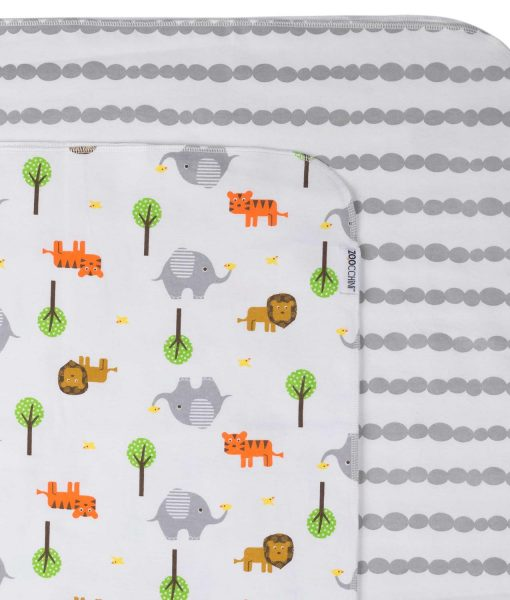 Zoocchini Baby Flannel Receiving Blankets Safari/Grey 2