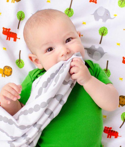 Zoocchini Baby Flannel Receiving Blankets Safari/Grey