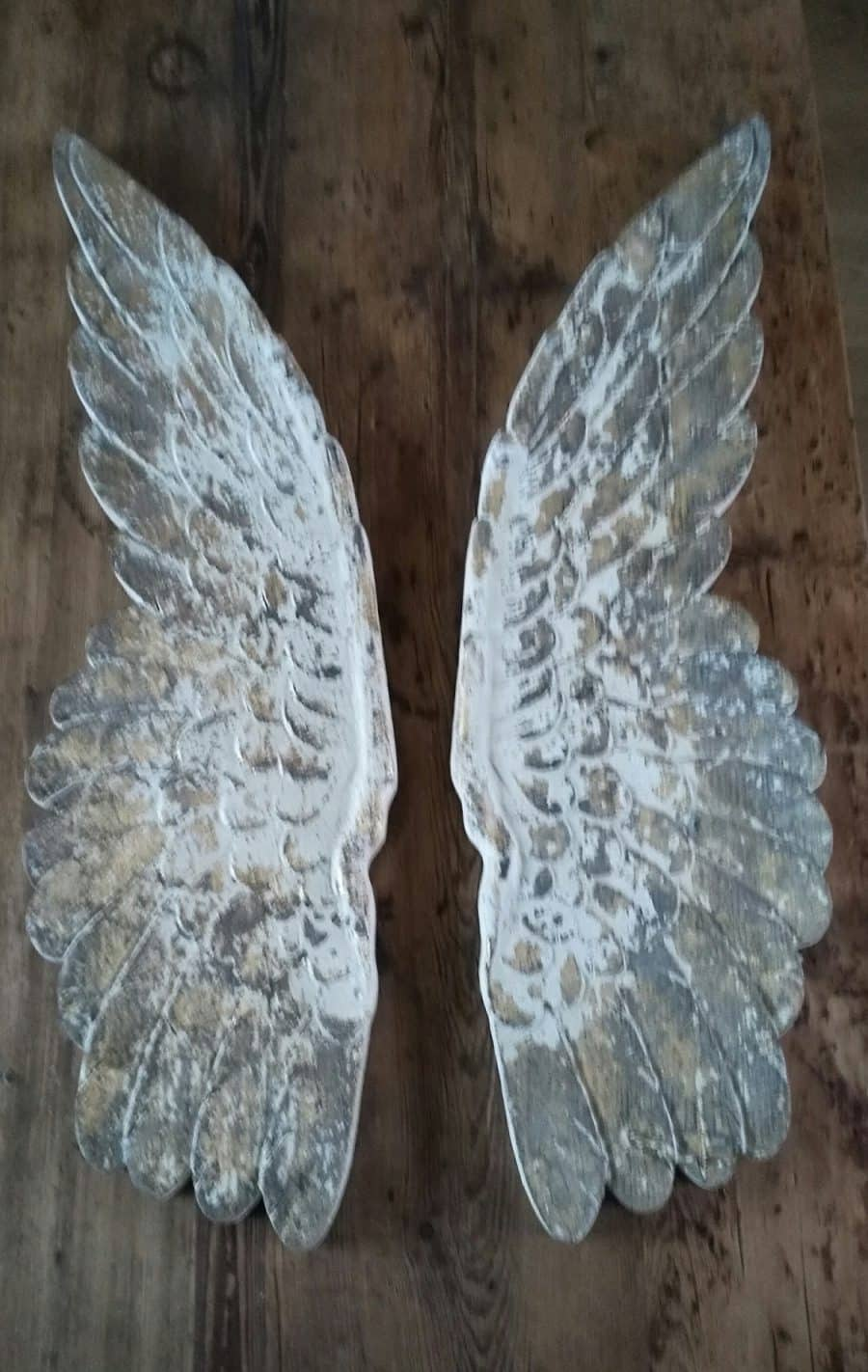 Wood Carved Distressed Angel Wings Wall Art Coach Free Uk