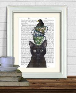 Fab Funky Black Cat with Teacups and Blackbird Genuine Original Antique Book Print
