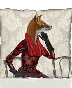Fab Funky Fox with Red Scarf Cushion