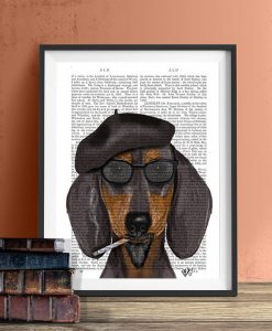 Fab Funky Hipster Dachshund Genuine Original Antique Book Print