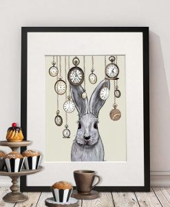 Fab Funky Rabbit Time on Cream Canvas Art Print