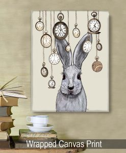 Fab Funky Rabbit Time on Cream Original Book Page Print 4