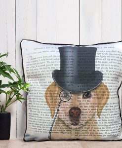 Fab Funky Yellow Labrador, Formal Hound and Hat Cushion