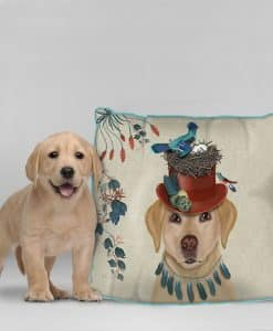 Fab Funky Yellow Labrador Milliners Dog Cushion