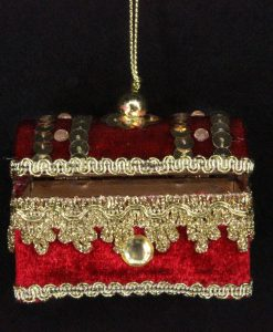 Gisela Graham Red Velvet Jewel Treasure Chest Dec 11679