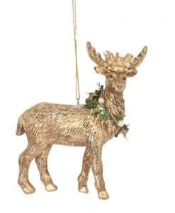 Gisela Graham Gold Resin Stag with Crown Dec 12767