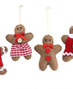 Gisela Graham Felt Boy Girl Gingerbread Dec 4as 12998