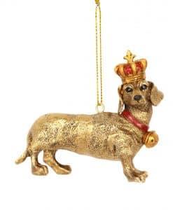 Gisela Graham Gold Resin Dachshund Crown Dec 13295