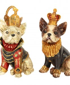 Gisela Graham Coloured Resin Sitting Dog Crown Orn 2as 32958