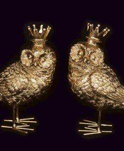Gisela Graham Gold Resin Owl Crown Orn 2as 33076