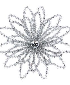 Gisela Graham Silver Tinsel Wire Flower with Jewel 12433