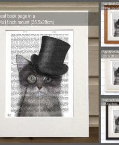 Fab Funky Cat Grey with Top Hat Genuine Original Antique Book Print 2