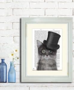 Fab Funky Cat Grey with Top Hat Genuine Original Antique Book Print