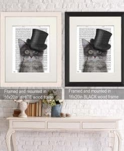 Fab Funky Cat Grey with Top Hat Genuine Original Antique Book Print 3