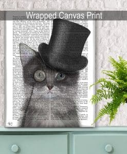 Fab Funky Cat Grey with Top Hat Genuine Original Antique Book Print 4