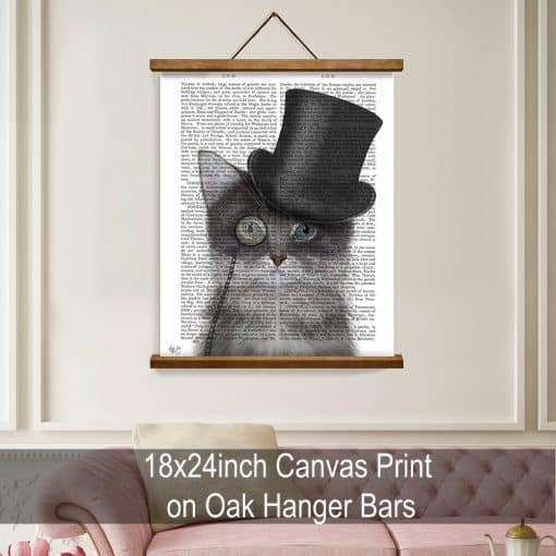 Fab Funky Cat Grey with Top Hat Genuine Original Antique Book Print 5