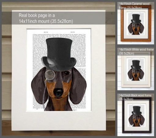 Fab Funky Dachshund Formal Hound and Hat Genuine Original Antique Book Print 2