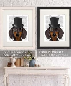 Fab Funky Dachshund Formal Hound and Hat Genuine Original Antique Book Print 3