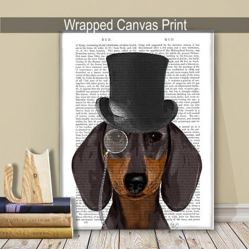 Fab Funky Dachshund Formal Hound and Hat Genuine Original Antique Book Print 4