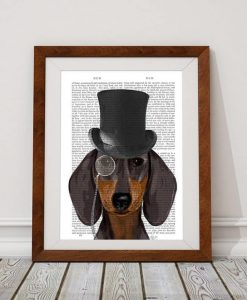 Fab Funky Dachshund Formal Hound and Hat Genuine Original Antique Book Print