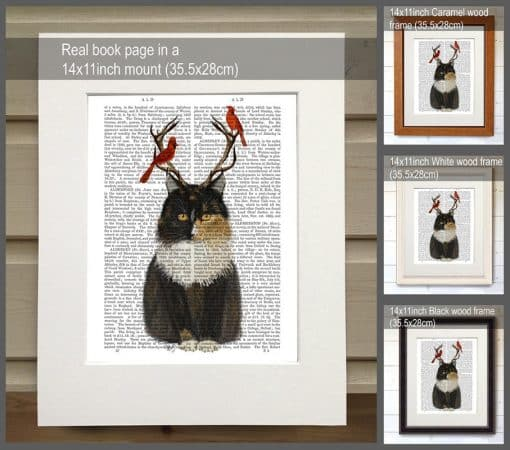 Fab Funky Tortoiseshell Cat Antlers and Red Birds Genuine Original Antique Book Print 2