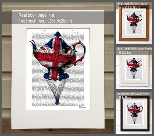Fab Funky Union Jack Flying Teacup Genuine Original Antique Book Print 2