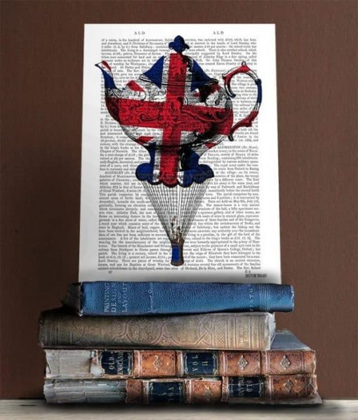 Fab Funky Union Jack Flying Teacup Genuine Original Antique Book Print