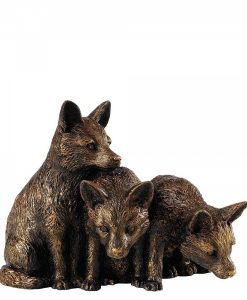 Fox Cubs Bronzed Ornament A28715