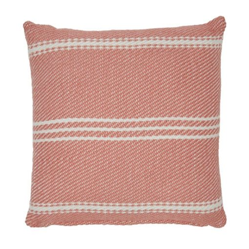 Weaver Green Oxford Stripe Cushion - Coral 45 x 45cm