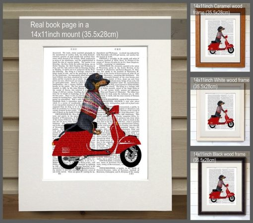 Fab Funky Dachshund on a Moped BP260520726 1