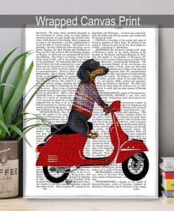 Fab Funky Dachshund on a Moped BP260520726 3