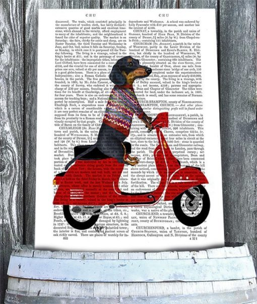 Fab Funky Dachshund on a Moped BP260520726