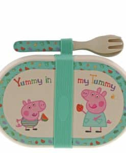 Peppa Pig Bamboo Snack Box with Cutlery Set A29658