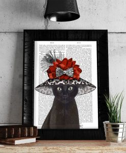 Fab Funky Cat, Black with Fabulous Hat Genuine Orifinal Antique Book Print BP260523013
