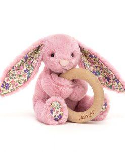Jellycat Bashful Blossom Tulip Bunny Wooden Ring Toy BL4WBTP