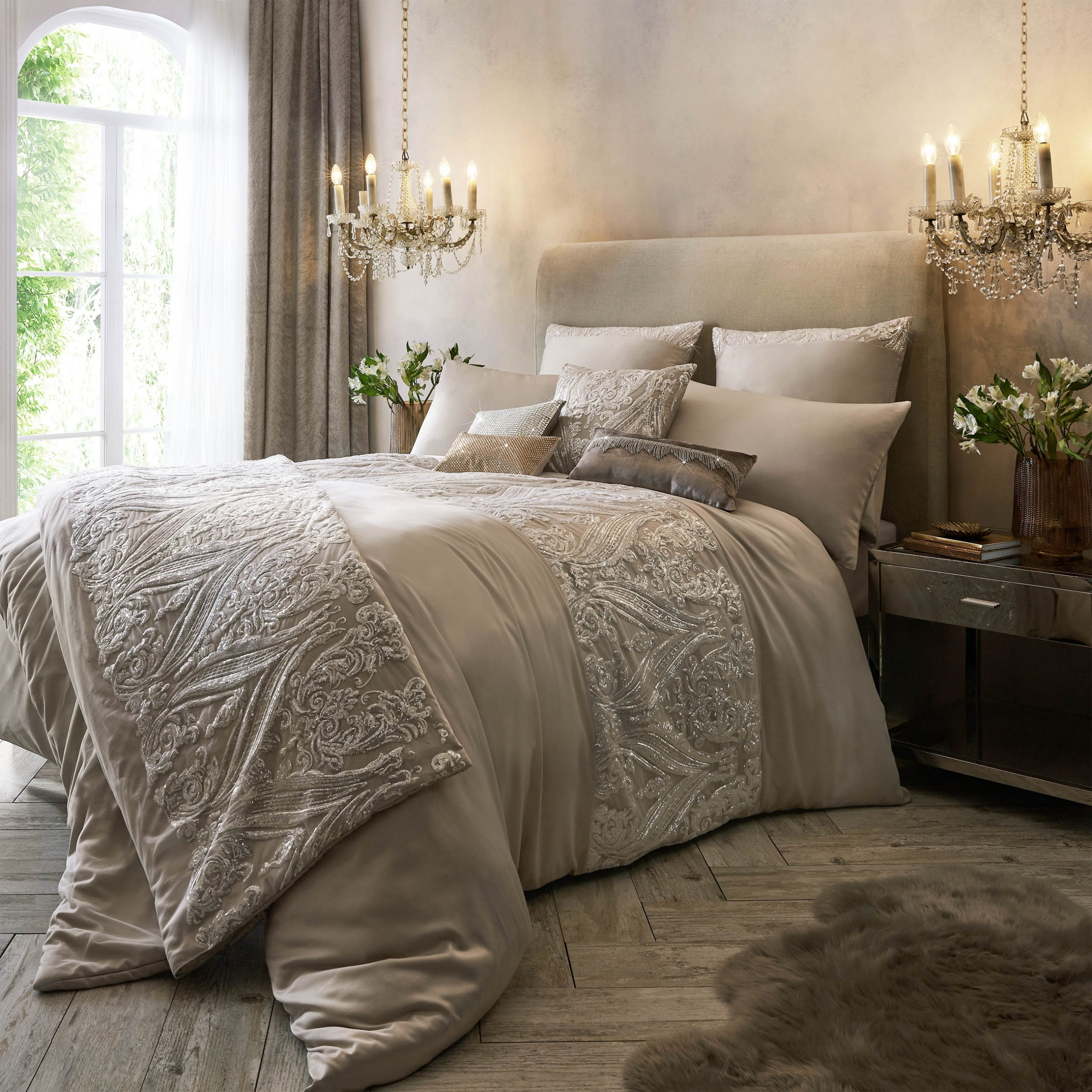 Kylie Minogue Savoy Blush Duvet Cover Includes Free Pillow Cases Maison White