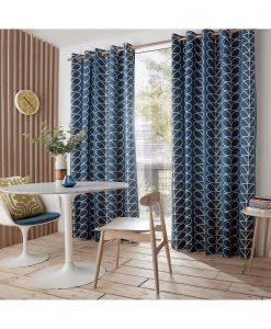 Orla Kiely Linear Stem Whale Ready Made Curtains