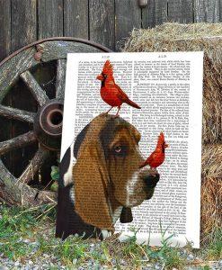 Basset Hound and Birds, Book Print