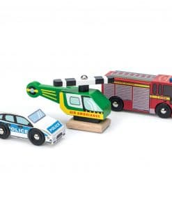 TV465-Emergency-Wooden-Vehicles-Police-Car-Helicopter-Fire-Truck