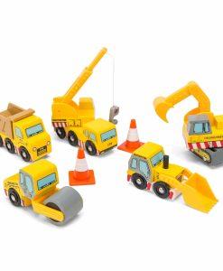 TV442-Construction-Wooden-Cars-Yellow-Digger-Lorry-Crane