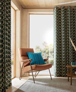 Orla Kiely Linear Stem Evergreen Readymade Curtains