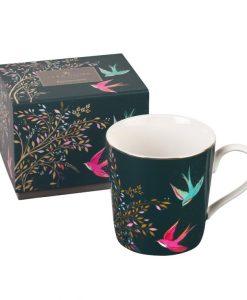 Sara miller Dark Green birds Chelsea collection mug